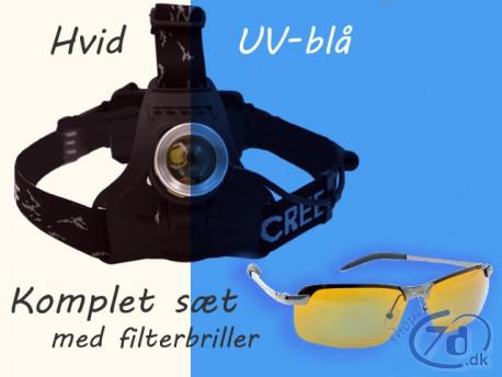 Pandelampe med UV-blåt / Hvidt lys og fokus - Udforskning - fiskeri - ravjagt... Komplet sæt