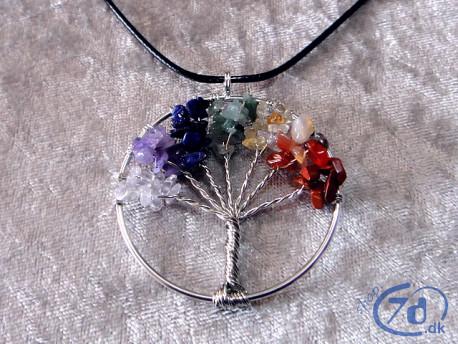 Livets Træ Halskæde - med 7 grene ædelsten
