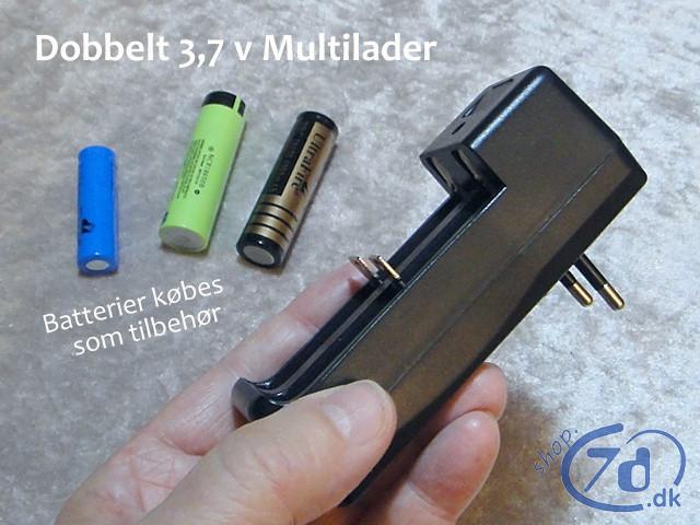 Dobbelt Multi Lader med automatik - Oplader alle 3,7 V batterier