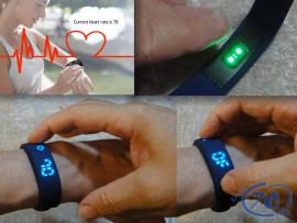 Multi FitnessArmbånd med tydelig visning af tid og puls
